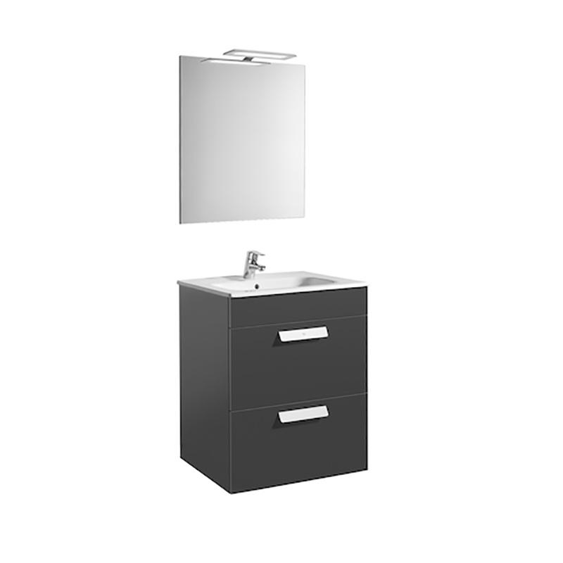 Roca Debba - компактен шкаф за баня с огледало Pack 600