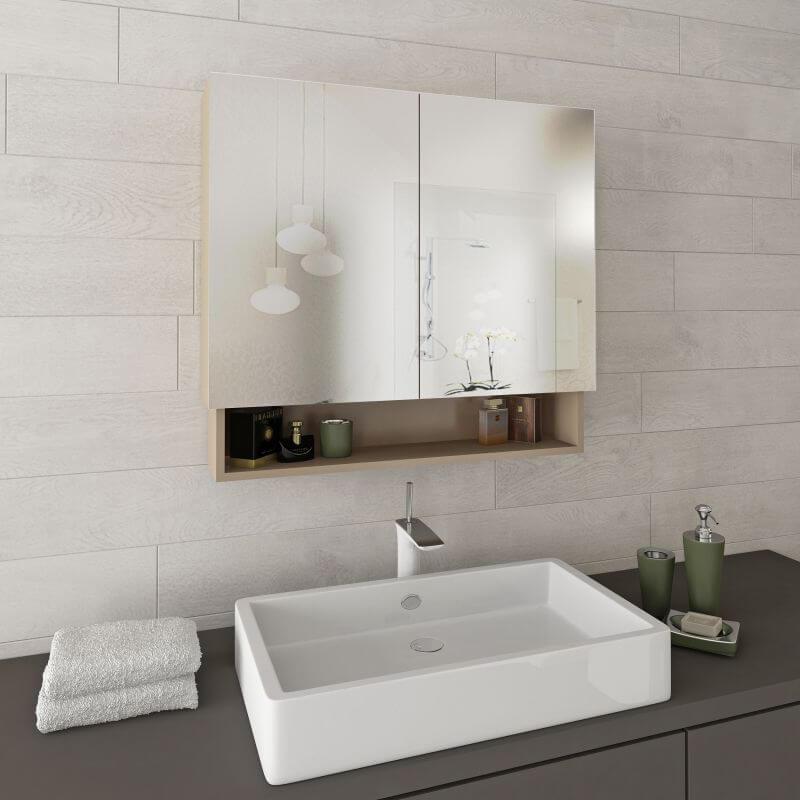 Горен шкаф за баня с огледала и рафт Aby