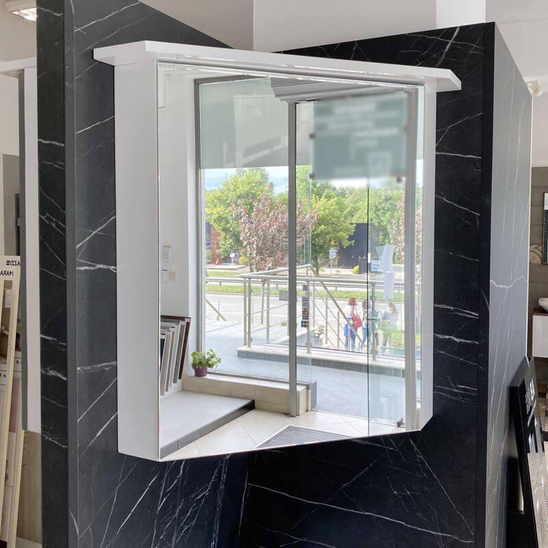 Ъглов шкаф за баня с огледало Brevi с вградено осветление