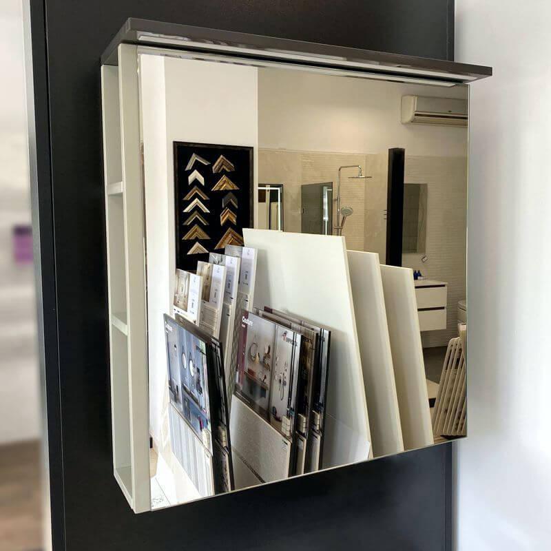 Шкаф за баня с огледало Ecru с вградено осветление