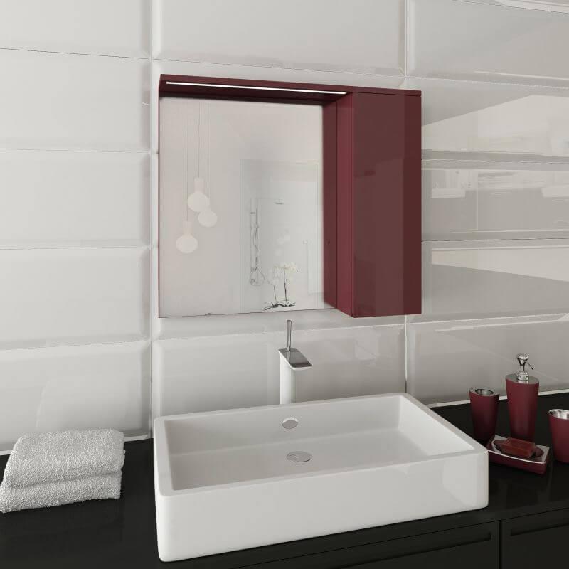 Горен шкаф за баня с огледало и LED осветление Stella Lux