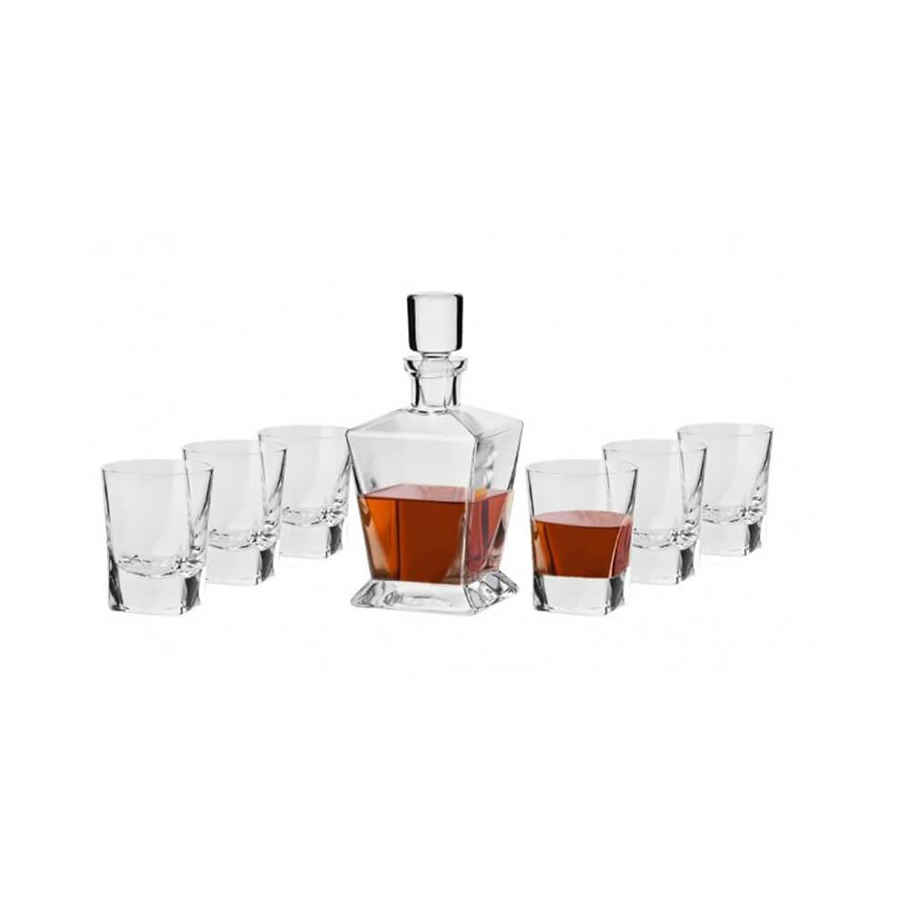 Сет за уиски - 7 части - ръчна изработка Caro, Krosno