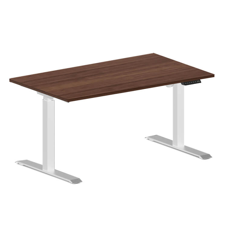 Electric desk Parma white with a walnut top
