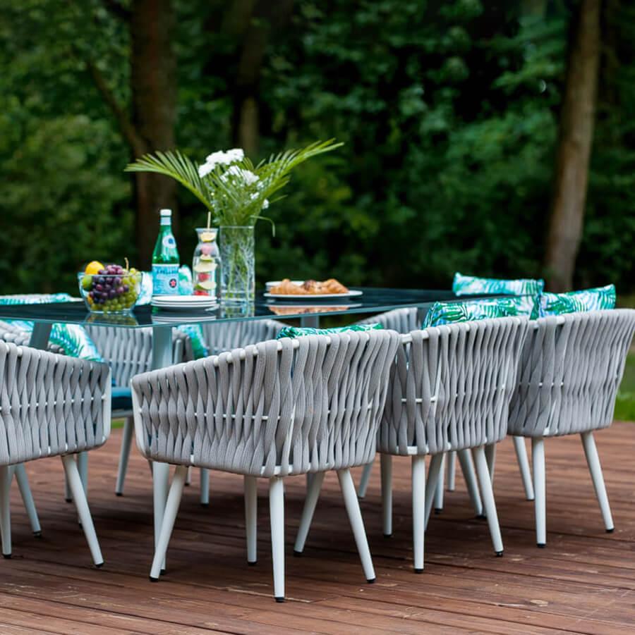 Голям градински сет от алуминиеви мебели с оплетка - мостра