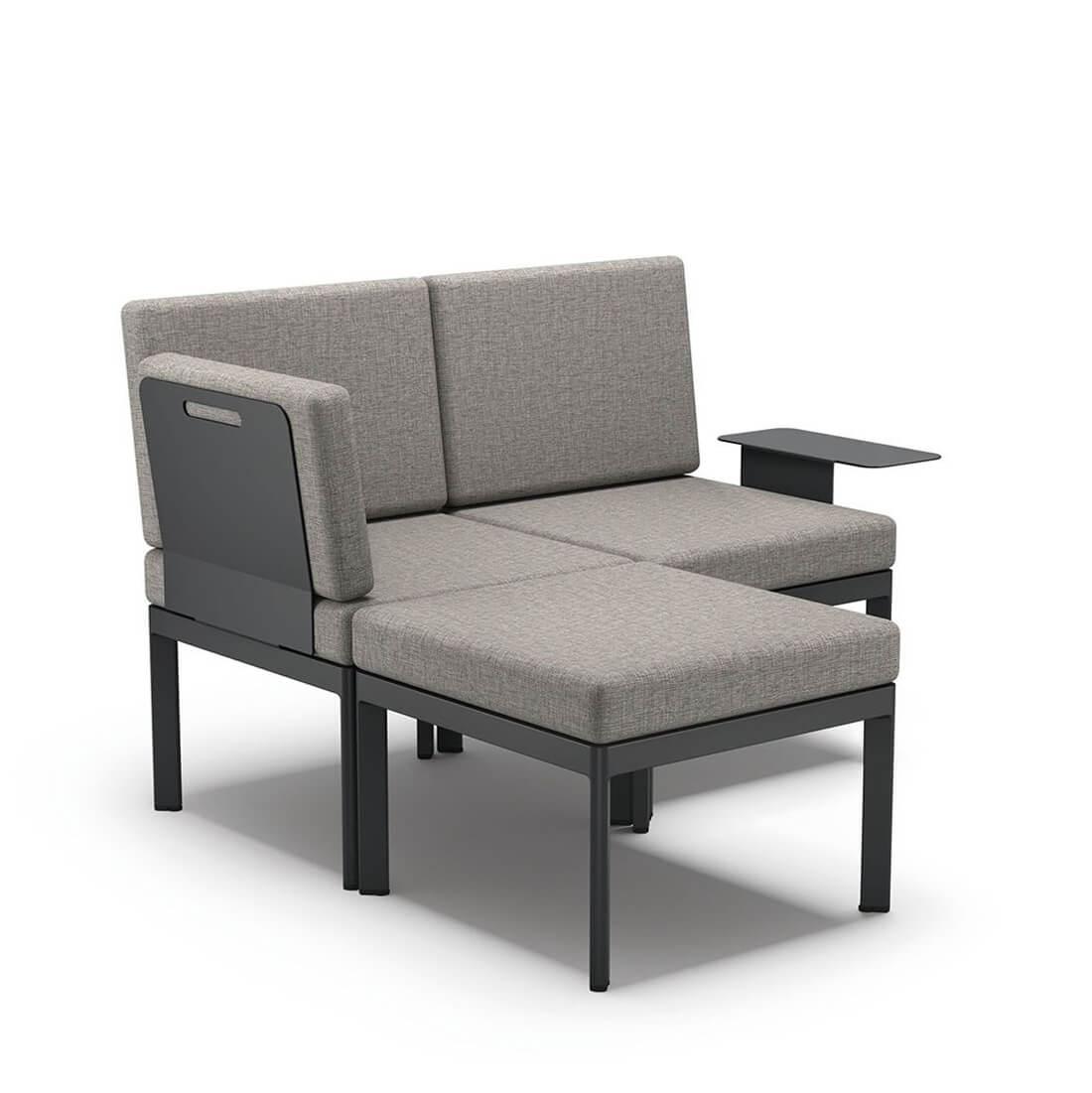 Градински ъглов диван с лежанка и масичка Lugo