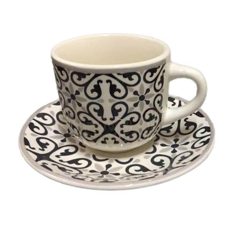 Порцеланови чаши за чай 6 бр в комплект. -  черно/бежово - мостра