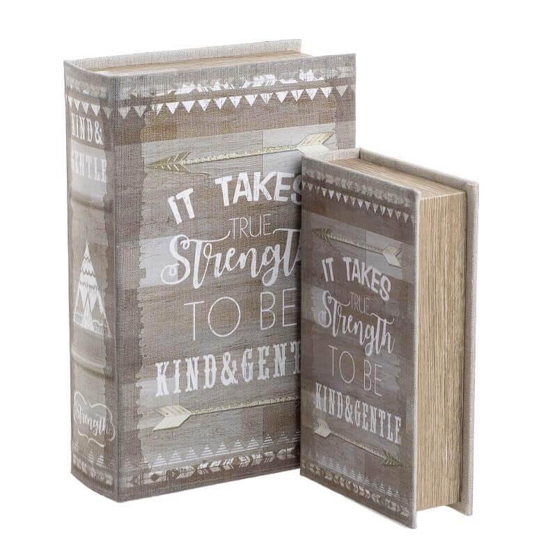 Дървена кутия - книга -  2 бр в комплект. -  бежово/сиво - мостра
