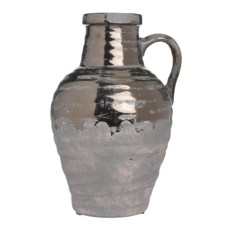 Керамична ваза с дръзка -  крем/златно - мостра