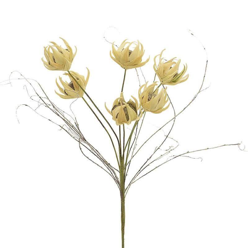 Изкуствено цвете -  зелено/жълто - мостра