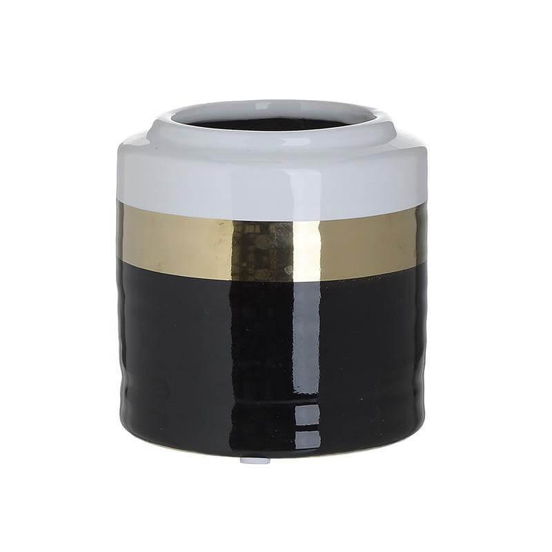 Керамична ваза -  черен/бял/златен 1 - мостра