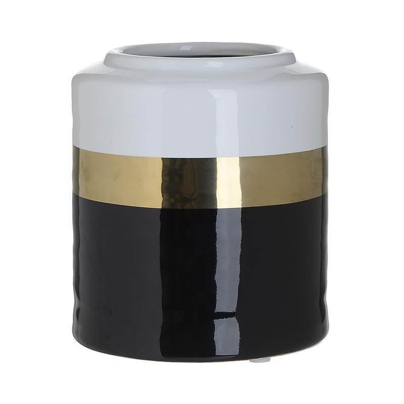 Керамична ваза -  бял/черен/златен - мостра