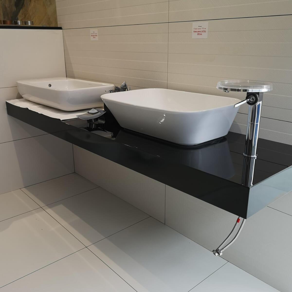 PVC черен плот за мивка, гланц - мостра